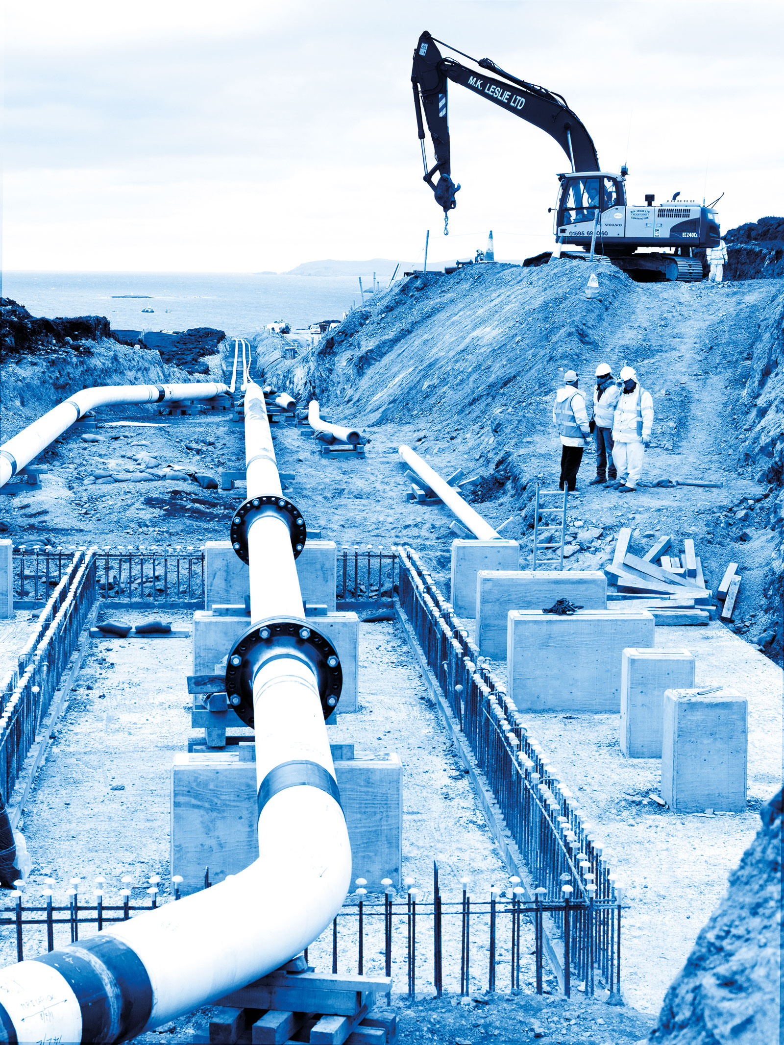 Construction of gas pipelines, Laggan Tormore project, Shetland Islands, Scotland.