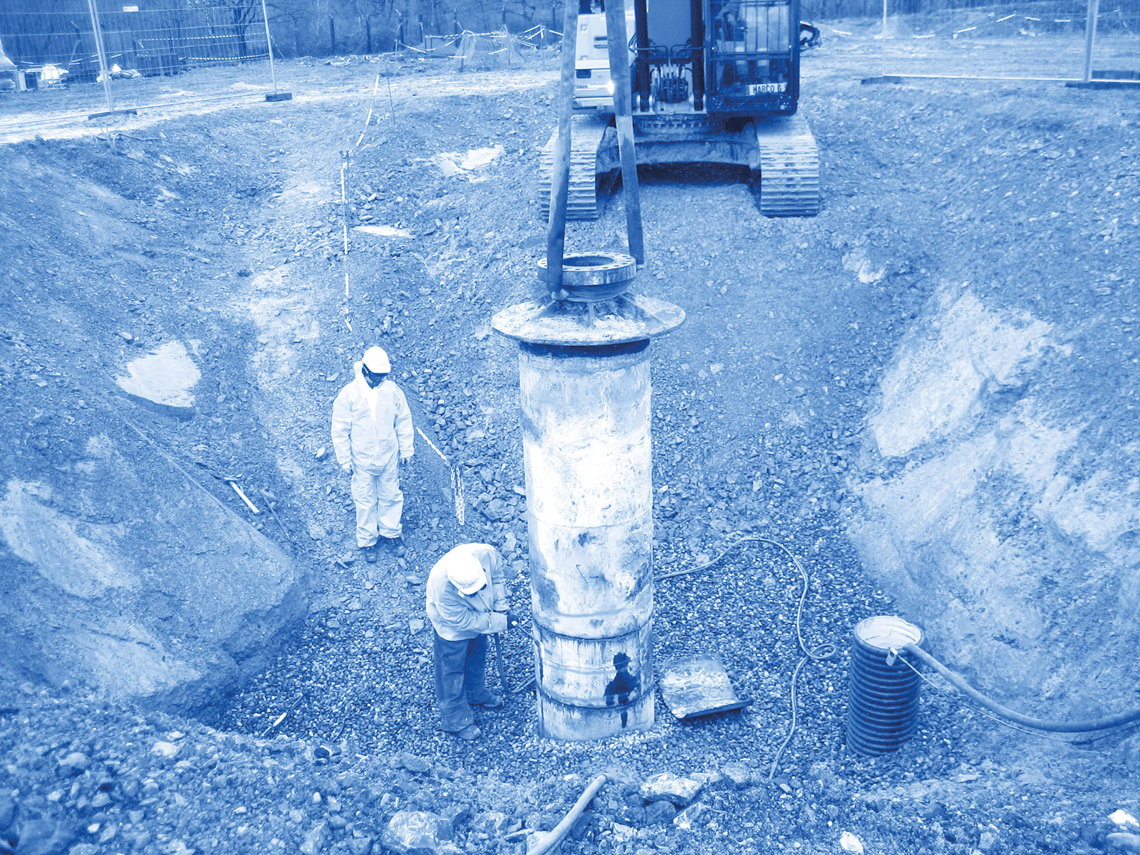 Cutting up a wellhead after plugging.