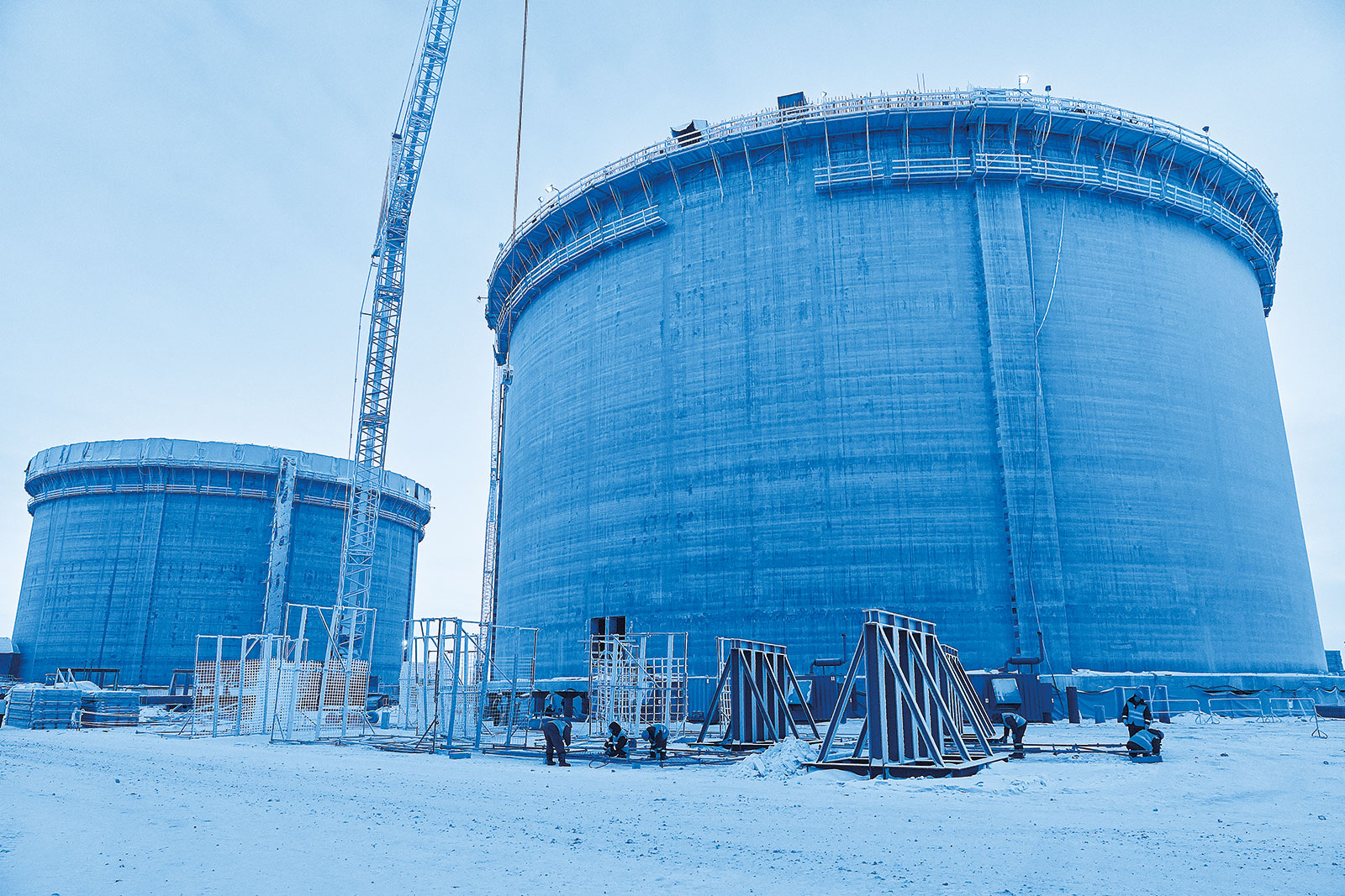 Tank, liquefied natural gas production station –  Yamal project, Russia.